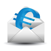 vector image of euro sign and envelope